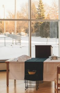 An image of a winter day at Cornerstone Reformed Church in the Twin Cities area.