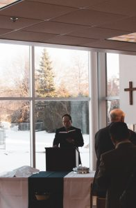 An image of Pastor Frank Liu poaching at Cornerstone Reformed Church.